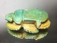 Blue Egypt Faience Steatite Scarab 33rd Dynasty Late Kingdom Carved