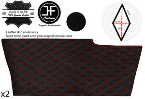 RED DIAMOND STITCH 2X SIDE CONSOLE TUNNEL LEATHER COVER FOR CORVETTE C6 05-13