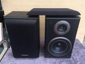 Pair Of Technics SB-LV105 2 Way Book Shelf Speakers Black Works Great, We Post
