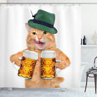 Cat Shower Curtain Cool Cat Hat Beer Mug Funny Print for Bathroom