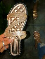 Women Rhinestones Shiny Slippers  Flip Flop