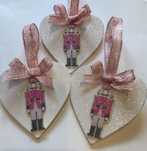 3 X Nutcracker Soldier Christmas Decorations Wood Heart Rose Pink Shabby Chic