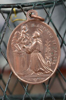 italian Religious copper Medal, Pendant, St Anthony of Padua Glorious Virgin