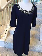NWT St. John Beautiful Navy Santana Knit Beaded Silver Dress 14
