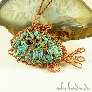 Turquoise Crystal Jumbo Fish Pendant Pure Copper Wire Wrapped Handmade Jewelry