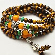 Joli Chapelet Mala Bouddhiste en 108 Perles de l'Oeil de Tigre