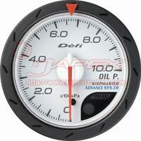 Defi Link ADVANCE CR Oil Pressure Gauge White Face 52mm Blue/Amber Red DF08101