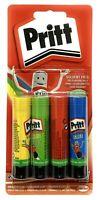 Pack Of 4 Glue Sticks Pritt Rainbow Coloured Solvent Free Washable - 10g Each