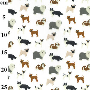 100% Cotton Fabric - Cute Dog Print on White - Craft Fabric Material Metre