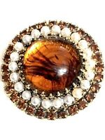 Large Citrine Coloured Faux Pearl Round Brooch 4cm Across 1950s