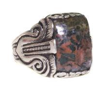 Sterling silver mens ring, Natural Bloodstone gemstone