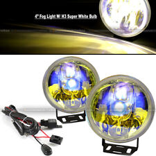 """Challenger 4"""" Round Ion Yellow Bumper Driving Fog Light Lamp Kit Complete Set"""