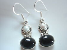 Cultured Pearl and Black Onyx Ovals 925 Sterling Silver Dangle Earrings