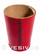 DICE CUP - Genuine LEATHER - RED / BLACK - Hand-Made Hand-Stitched - Game RPG