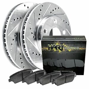 Hart Brakes Front Silver Drilled/Slotted Brake Rotors + Ceramic Brake Pads
