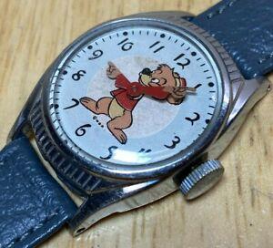 RARE 1940's US Time Bongo Bear Disney Birthday Hand-Wind Mechanical Watch Hours