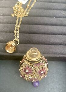 Perfume Bottle Pendant, Gold And Pink Flowers With Chain Necklace.