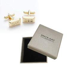 Mens Golden Nugget Cufflinks & Gift Box By Onyx Art