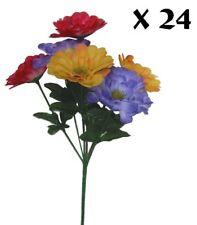 "24 Pack 13"" Zinnia Bush Silk Flower Holidays Memorial Home Office Decor"