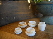 Lot of 5 antique MILK GLASS beauty cream jars one is Pond's Salvaged Tiny Small