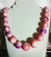 """VTG Hong Kong Gorgeous Pink & purple Beaded  Necklace """" 27 inch springtime"""