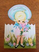 Adorable Vtg Little Blonde Girl Greeting Card Granddaughter Birthday Hallmark