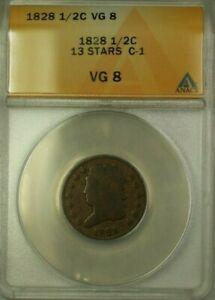 1828 13 Stars Classic Head 1/2c Coin C-1 ANACS VG-8 (WW)