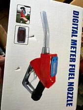 Red 1 inch Automatic Gas Diesel Fueling Nozzle Gun w/ Digital Flow Meter