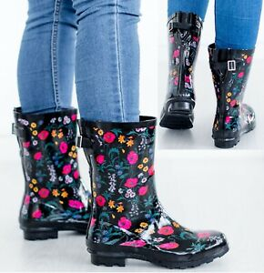 LADIES WOMENS WELLIES FLOWER GARDEN FESTIVAL RAIN WATERPROOF WELLINGTON BOOTS