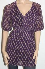 quirky circus Brand Purple Floral Chiffon Short Sleeve Dress Size 8 BNWT #sG118
