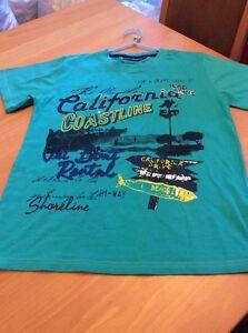 boys clothes 12 years Lenny Green Cotton California Coastline Short Sleeved Top