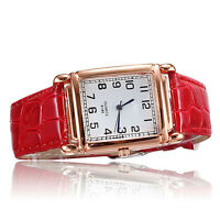 WO_ Hot Fashion Men Women Leather Band Square Dial Quartz Analog Wrist Watch