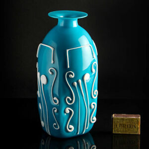 Unique blue abstract glass vase with white flowers 1/1 E. Nason Murano Cenedese