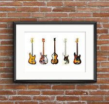 Famosa Bass Guitars-ARTE POSTER Dimensioni A1