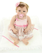 "23"" Cute Rooted Mohair Lifelike Reborn Newborn Girl Baby Doll That Look Real"