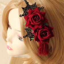 FR_ EG _femme gothique dentelle fleur rose halloween Gland fête bandeau serre-t