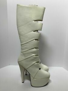 Women's White Knee High Boots Platform Stiletto Heels Patent Leather Shoe Sz 11