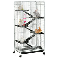 52'' 5 Level 3 Door Multifunctional Indoor Safety Large Ferret Rabbit White Cage