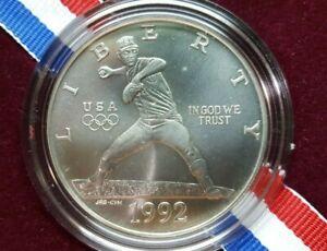 "1992 D ""Nolan Ryan"" XXV Olympic Baseball Silver One Dollar Coin, $1 Barcelona"