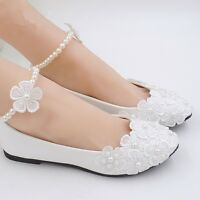 Women's Lace White Pumps Ankle Beading Wedding Shoes Bridal Flats Low Heel Shoes