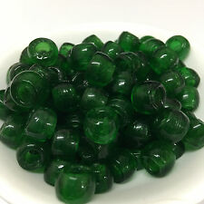 GREEN TRANSPARENT large holed Glass Beads - Bohemian/Jug/Covers/Pony/Macrame