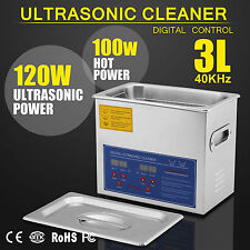 New Stainless Steel 3 L Liter Industry Heated Ultrasonic Cleaner Heater w/Timer
