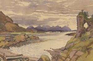 Philip William Cole (1884-1964) - Watercolour, Mountains and Rowing Boats