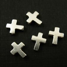 Sterling Silver Tiny Cross Connector- Small Cross Crucifix Charm 7mm - ( 3 pcs )