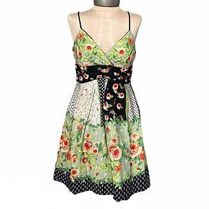 Vintage 90s Frederick's Of Hollywood Floral Babydoll Tie-Back Dress Size 8 USA