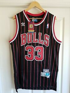 NWT Scottie Pippen Chicago Bulls pinstripe Jersey Throwback Classic Retro LARGE