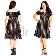 City Chic Polka Dot Off Shoulder Fit Flare Rockabilly Dress Plus Size 14 16 XS