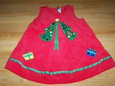 Size 24 Months Rare Editions Christmas Tree Holiday Jumper Dress Red Corduroy