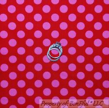 BonEful Fabric Cotton Quilt Red Pink Polka Dot Baby Girl Small Little Xmas SCRAP