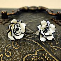 Lovely white and black resin rose flower stud earrings